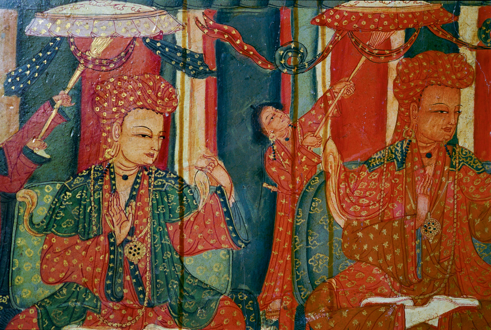 Detail of a wall painting in the Red Temple showing members of the Guge royal family attending the consecration of the temple, Tsparang, fifteenth century