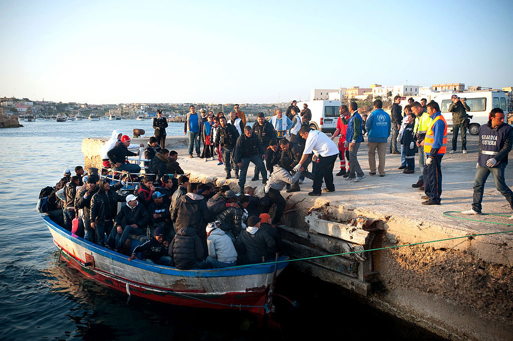 Migrants arriving from North Africa, Lampedusa, March, 2011