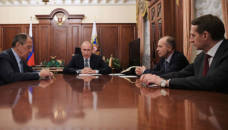 Foreign Minister Sergei Lavrov, President Vladimir Putin, Federal Security Service (FSB) head Alexander Bortnikov, and Foreign Intelligence Service chief Sergei Naryshkin at the Kremlin, Moscow, December 19, 2016