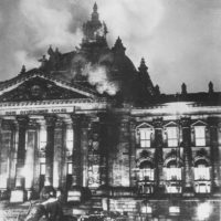 The shell of the Reichstag after the fire, Berlin, Germany, 1933