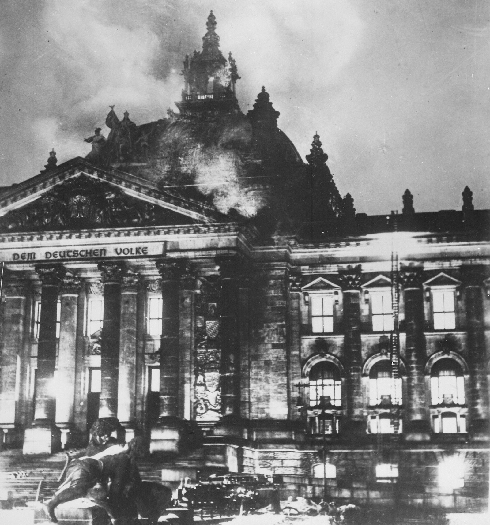 The Reichstag during the fire, Berlin, February 1933