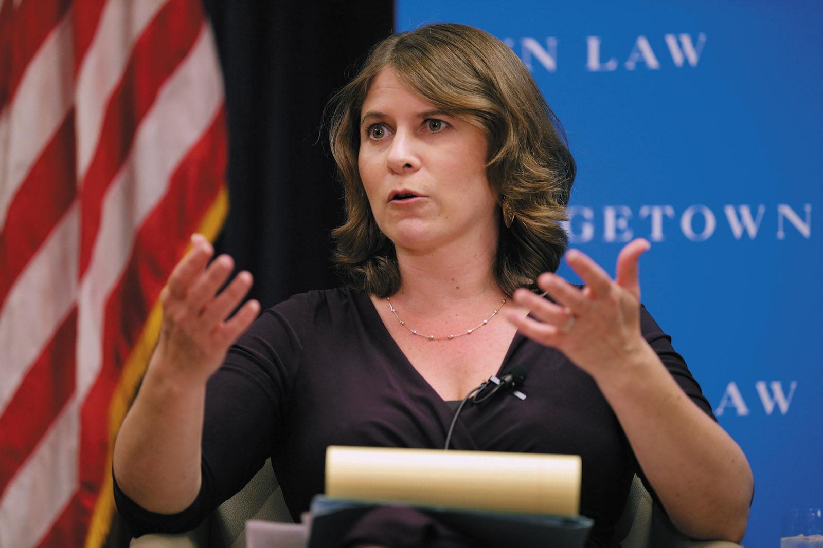 Rosa Brooks moderating a discussion on 'the next generation's human rights challenges' during a program that was cosponsored by The New York Review, Georgetown University Law Center, Washington, D.C., April 2014