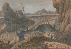 Hercules Segers: Rocky Landscape with a Man Walking to the Right: First Version, circa 1625-1630