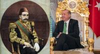 Portrait of the Ottoman Sultan Abdülhamid II, 1897; Turkish President Recep Tayyip Erdoğan, 2015