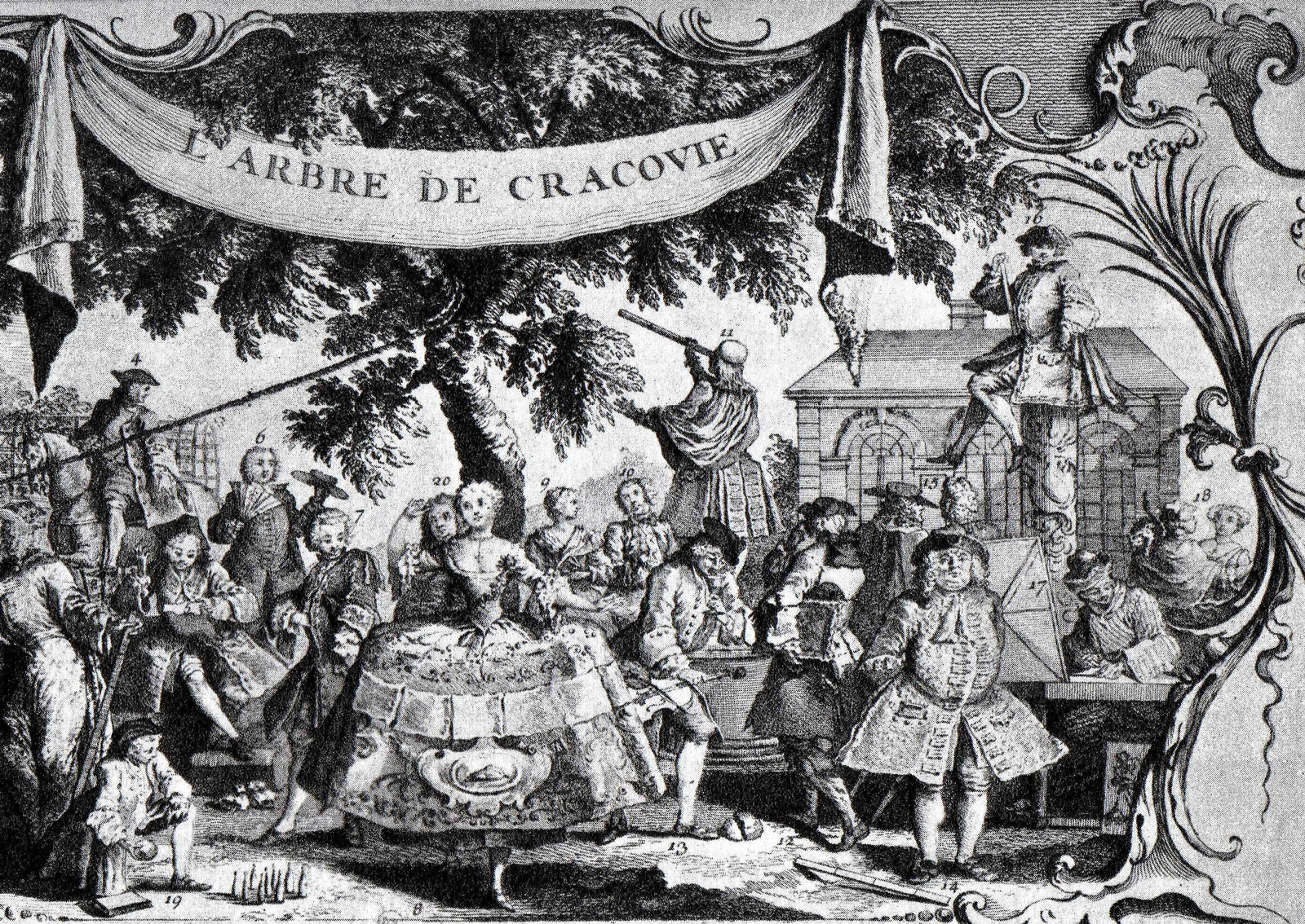 A print depicting the Tree of Cracow, in the gardens of the Palais Royal, circa 1742