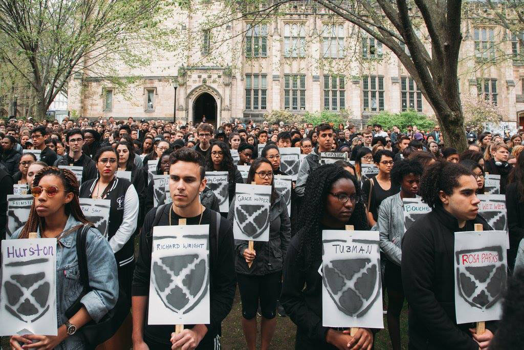 Students protesting at Yale, April, 2016