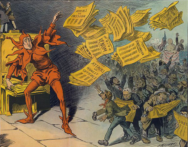 L.M. Slackens: The Yellow Press, showing William Randolph Hearst as a jester handing out newspapers, published by Keppler & Schwarzmann, October 12, 1910