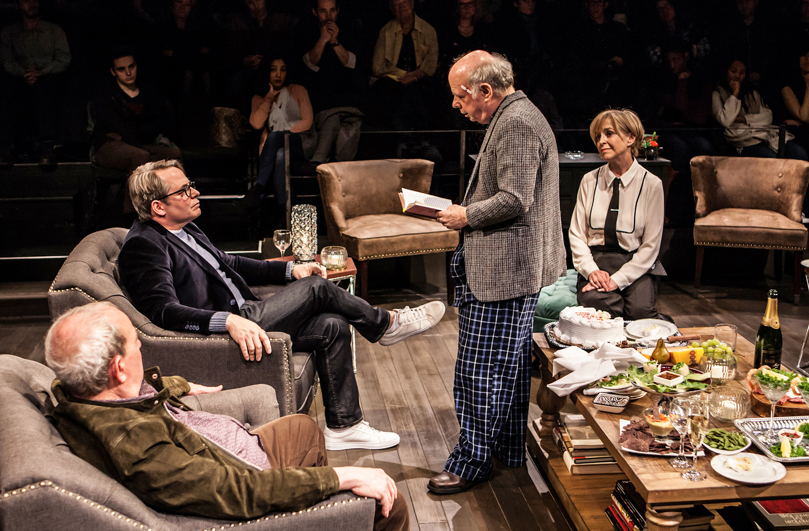 Michael Tucker, Matthew Broderick, Wallace Shawn and Jill Eikenberry in Wallace Shawn's Evening at the Talk House, directed by Scott Elliott, Off-Broadway at The New Group, 2017
