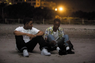 Jharrel Jerome and Ashton Sanders as the teenagers Kevin and Chiron in Moonlight