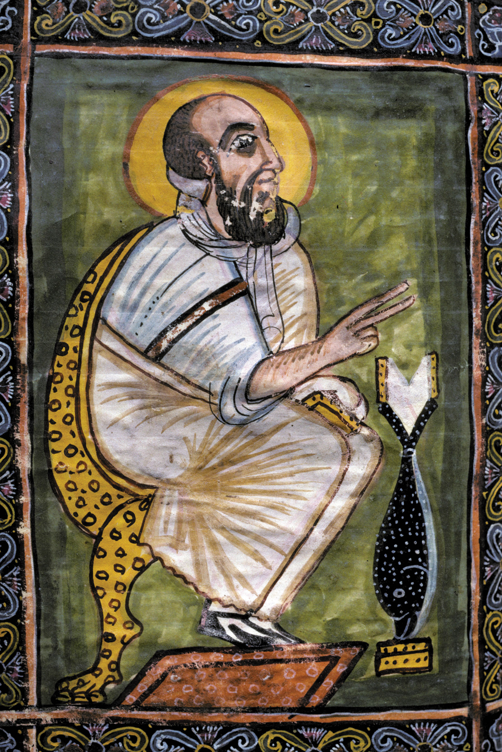 Mark the Evangelist; illustration from the Garima Gospels, late fifth or sixth century CE. As Peter Brown writes, the discovery of the gospels at the Ethiopian monastery of Abba Garima confirms G.W. Bowersock's emphasis in The Crucible of Islam on the importance of the kingdom of Axum, to which early Muslims fled for protection in about 615.