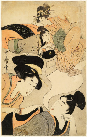 Kitagawa Utamaro: The Young Man's Dream, from the series Profitable Visions in Daydreams of Glory, circa 1801–1802. In this woodcut, Ian Buruma writes, a wakashu,or 'beautiful youth,' is 'dreaming of sleeping with a famous high-class courtesan (the dream is revealed in a cartoon-like bubble over his head), while a young woman solicitously wraps a jacket around his shoulders lest he catch a cold.'