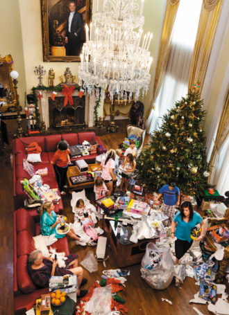 Christmas morning at Jackie and David Siegel's Seagull Island mansion, Windermere, Florida, 2010. Their construction of a 90,000-square-foot mansion inspired by the palace of Versailles was the subject of Lauren Greenfield's documentary The Queen of Versailles (2012); this photograph appears in her new book, Generation Wealth, just published by Phaidon.