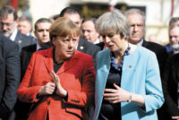 German Chancellor Angela Merkel and British Prime Minister Theresa May at a European Union summit, Valletta, Malta, February 2017