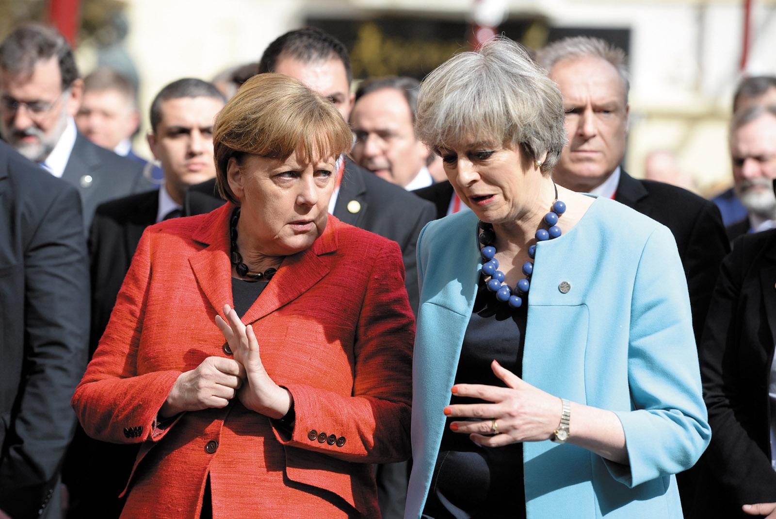 German Chancellor Angela Merkel and British Prime Minister Theresa May at a European Union summit, Valletta, Malta, February 2017