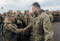 President Petro Poroshenko with soldiers in the Luhansk region of eastern Ukraine, April 2017