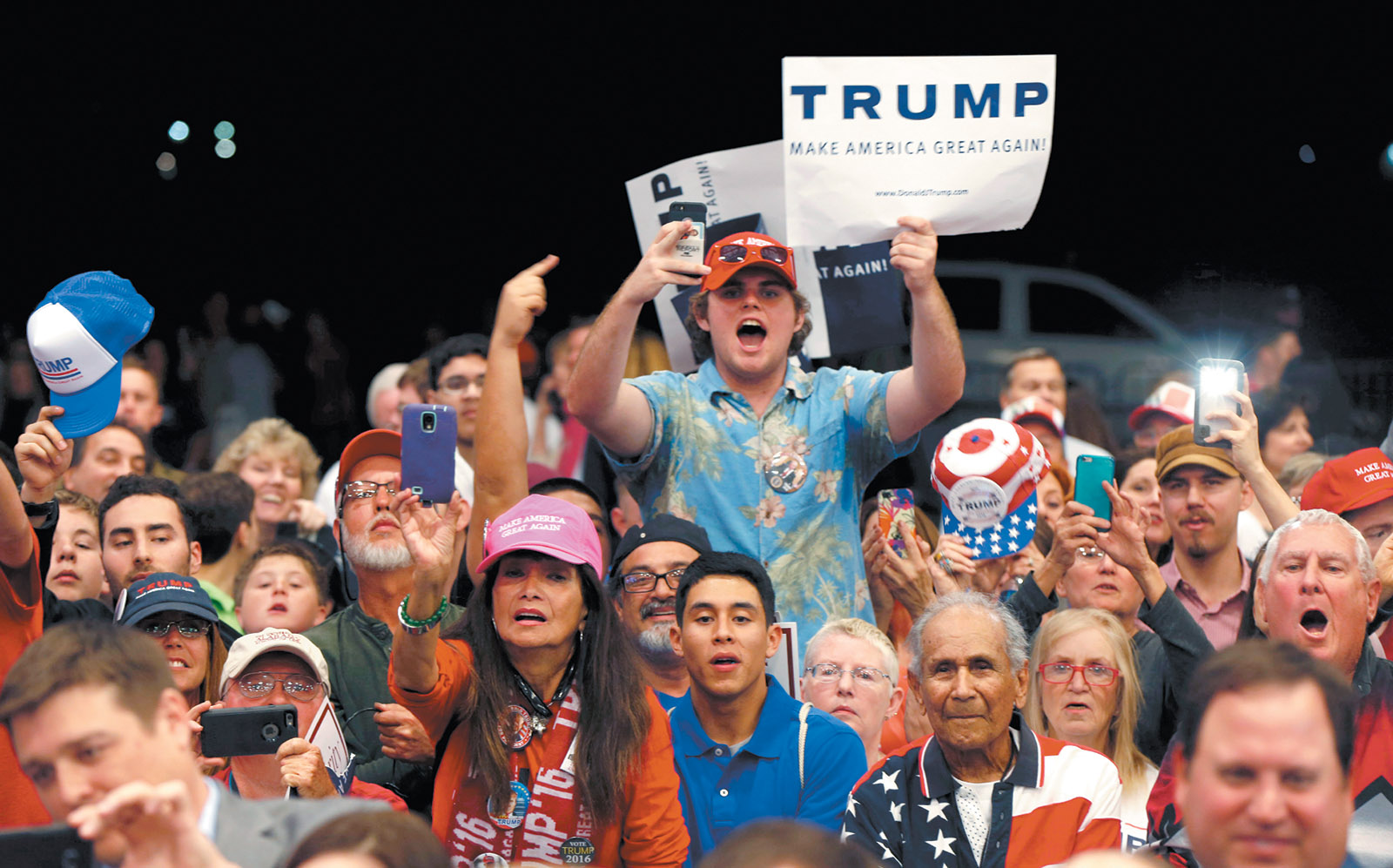 Trump supporters at a campaign rally in New Orleans, March 2016