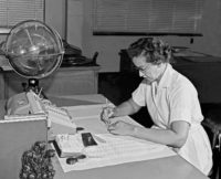 Katherine Johnson, the NASA mathematician who calculated the reentry trajectory for John Glenn's Mercury Friendship 7 mission as he returned from orbiting the earth, 1962