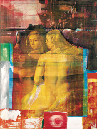 Robert Rauschenberg: Persimmon, 1964; from Rauschenberg's series of oil and silkscreen-ink print paintings in which, Jed Perl writes, 'photographs of President Kennedy, crowded city streets, space travel, and a nude by Rubens come together to suggest a modernized version of the emotional fireworks we know from Baroque altarpieces.'