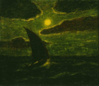 Sailing by Moonlight, formerly attributed to Albert Pinkham Ryder, 1880s