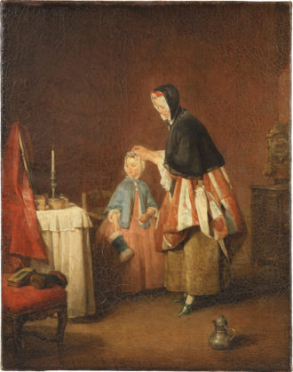 Jean-Siméon Chardin: The Morning Toilette, 19 1/4 x 15 1/2 inches, 1740–1741