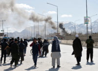 Smoke from a battle between Taliban and Afghan forces, Kabul, Afghanistan, March 1, 2017
