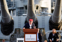 Donald Trump at a campaign event aboard the retired ship USS Iowa, Los Angeles, September 15, 2015