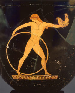 Red-figure bell-krater showing Ganymede, described in the Iliad as the most beautiful of mortal men, Greek, Attic, circa 500-490 BC