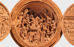 Detail from a boxwood prayer bead showing the Adoration of the Magi, Netherlands, early sixteenth century