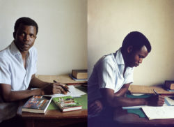 Chinua Achebe, photographed by Eliot Elision, at his house in Enugu, Nigeria, 1959