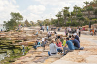 The sandstone blocks at the Barangaroo Reserve, Sydney's new waterfront park, which opened in August 2015