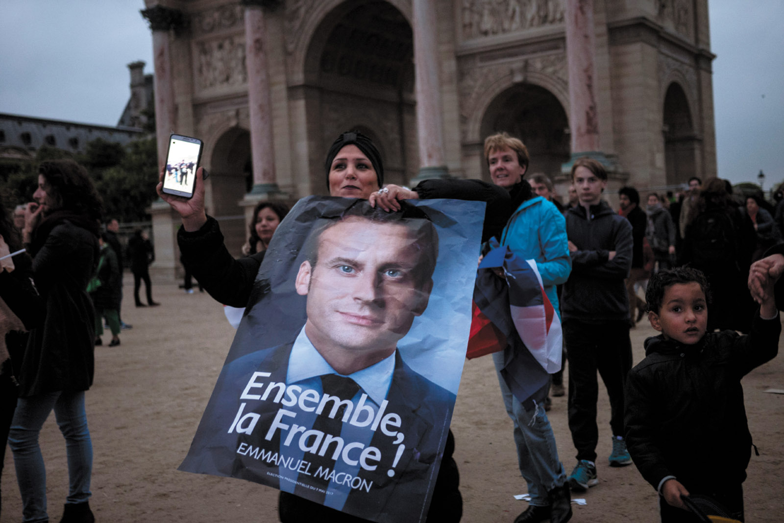 Supporters of Emmanuel Macron celebrating his victory in the French presidential election, Paris, May 2017
