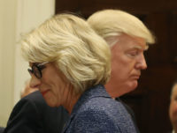 President Donald Trump and Education Secretary Betsy DeVos at the White House, April 26, 2017