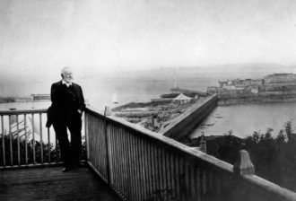 Victor Hugo on the terrace of Hauteville House, Guernsey, where he wrote Les Misérables, 1868