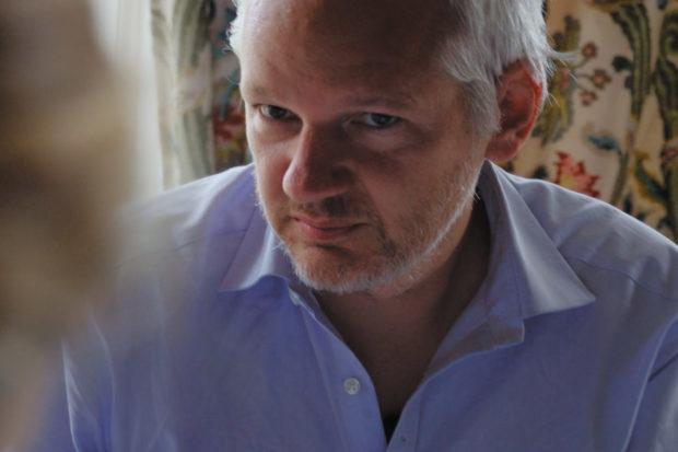 WikiLeaks founder Julian Assange in Laura Poitras's documentary film <i>Risk</i>