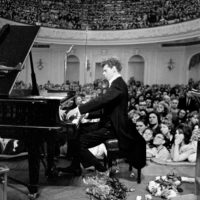 Van Cliburn performing in the Great Hall of the Moscow Conservatory during the first Tchaikovsky International Competition, which he won, April 1958