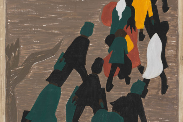 'The migration gained in momentum'; painting by Jacob Lawrence from his <i>Migration</i> series, 1940–1941