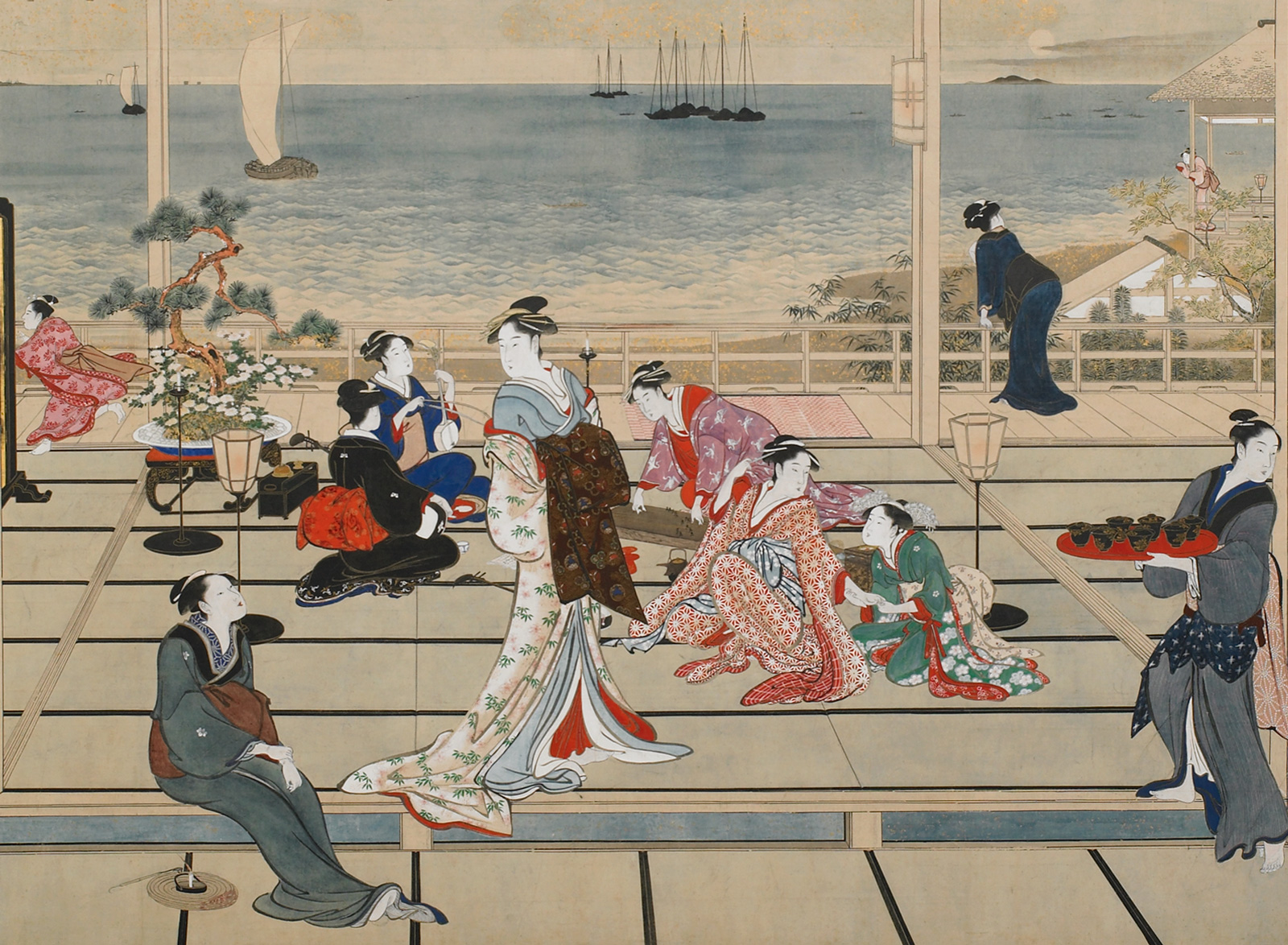 Utamaro: Moon at Shinagawa (detail), 1788-1790