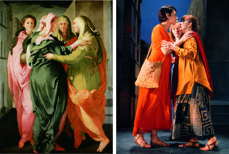 Jacopo Carucci Pontormo: Visitation, circa 1528–1529; Bill Viola: The Greeting, 1995