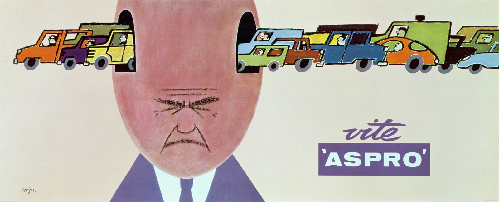 Poster advertising Vite Aspro, a French painkiller, 1964