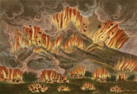"""Earthquake and Eruption of the Mountain of Asayama"" in Japan in 1783, from an account by Isaac Titsingh, 1822"