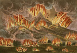 """""""Earthquake and Eruption of the Mountain of Asayama"""" in Japan in 1783, from an account by Isaac Titsingh, 1822"""