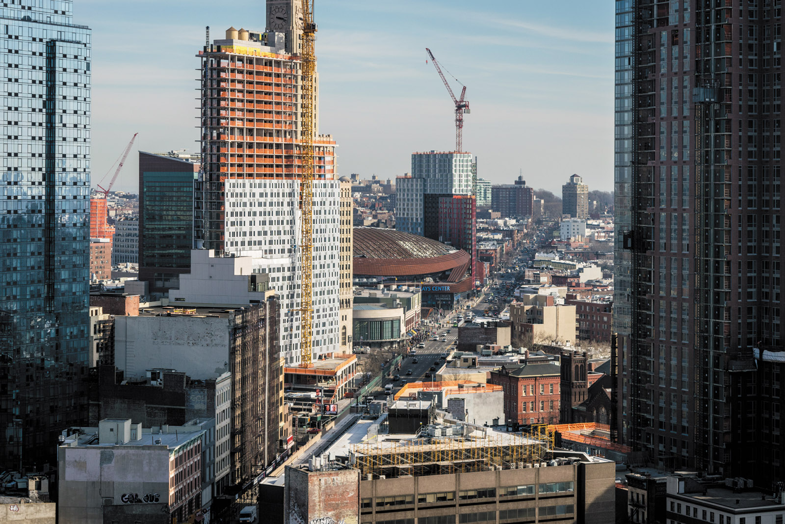 A view from 7 DeKalb Avenue, an apartment tower in Downtown Brooklyn. Eighty percent of its 250 apartments are subsidized units, for which there were 87,754 applications when it opened.