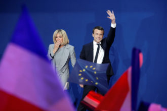 French President Emmanuel Macron and his wife Brigitte Trogneux, Paris, April 23, 2017