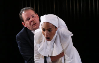 Thomas Jay Ryan as Angelo and Cara Ricketts as Isabella in Simon Godwin's production of Measure for Measure at Theatre for a New Audience, 2017
