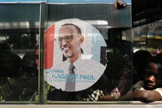 An image of Rwandan President Paul Kagame on the window of a bus, Kigali, Rwanda, July 30, 2017