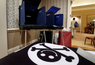 The Voting Machine Hacking Village at the Def Con hacker convention in Las Vegas, Nevada, July 29, 2017