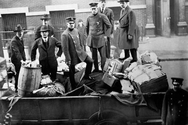 Boston police with seized radical literature, November 1919