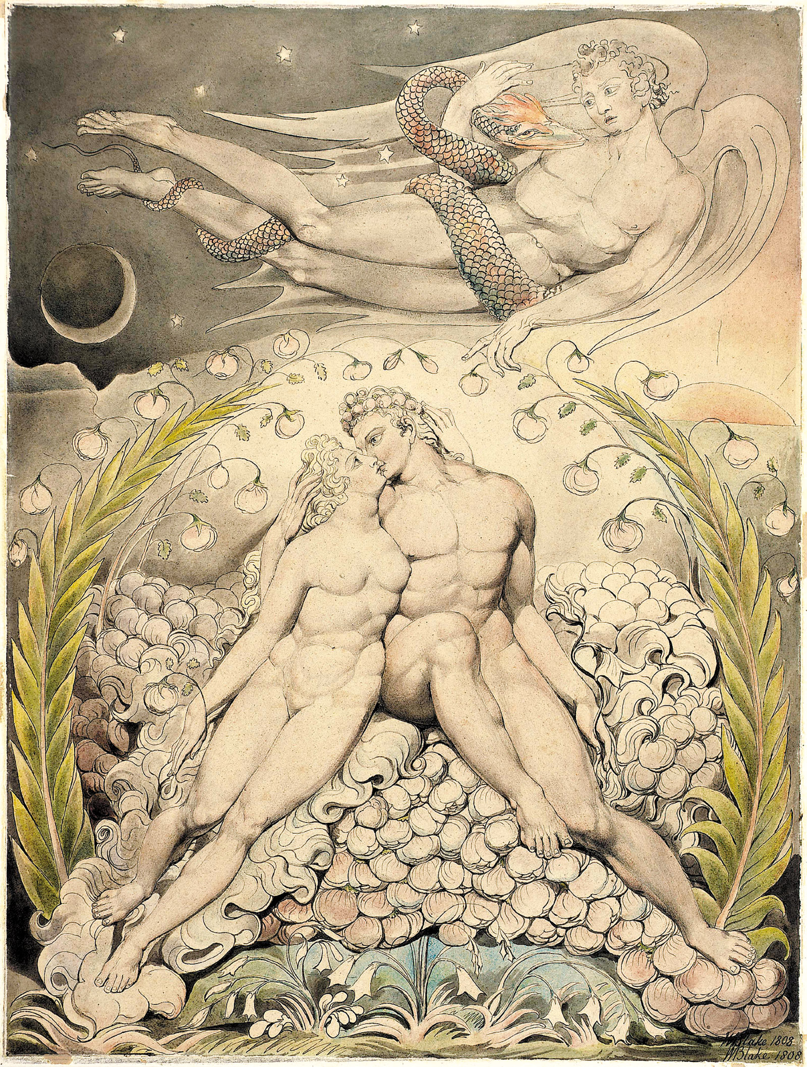 'Satan Watching the Caresses of Adam and Eve'; illustration by William Blake for John Milton's Paradise Lost, 1808
