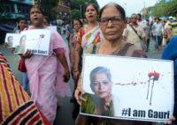 People protesting the killing of journalist Gauri Lankesh, Kolkata , India, September 7, 2017