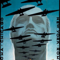 A poster celebrating the Italian Air Armada's transatlantic flight from Rome to Chicago for the 1933 World's Fair